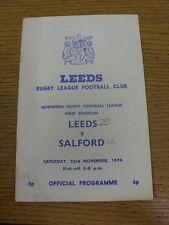 23/11/1974 programma Rugby League: Leeds V Salford (angolo piegato, MACCHIATI, Tè
