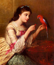 Oil painting Edward John Poynter - Nice young girl with her pet parrot & cherry
