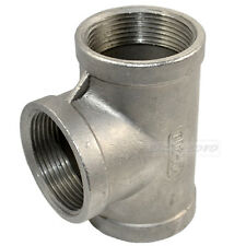 """1/2"""" Tee 3 Way Female Stainless Steel 304 Threaded Pipe Fitting BSPT"""