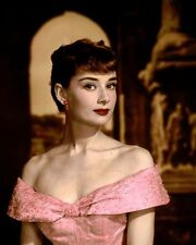 "AUDREY HEPBURN ROMAN HOLIDAY 1953 ACTRESS 8x10"" HAND COLOR TINTED PHOTOGRAPH"