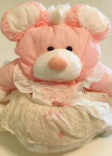 """Vintage 1987 15"""" Pink Puffalump Mouse With White Eyelet Dress Fisher Price"""