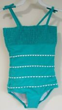 New Hanna Andersson Island Green Elastic Smocked Bathing Suit Size 100, 4
