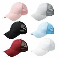Women Pony Cap Messy High Bun Ponytail Adjustable Mesh Baseball Hat Cute syRDFU