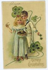 1909 Hearty Congratulations 4 leaf clover, boy and girl, horse shoe #110