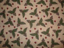 "LAST PIECE-""Pinecones & Berries"" Christmas Fabric-1 Yd"