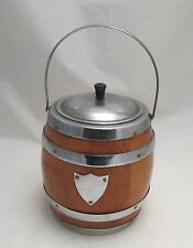 A Retro Wood & Chrome Ice Bucket - Barrel Shape - c1950
