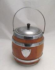 A Retro Wood & Chrome Ice Bucket - Barrel Shape - c1950