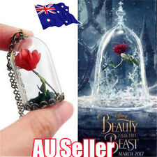 Beauty And The Beast Necklace Pendant Wish Rose Dried Flower Glass Bottle BO