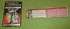 Vintage Prowl Manual & Tech File Card Transformers 1984