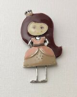 Adorable  Girl  Pin Brooch in enamel on Metal