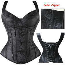Black Trim Women Gothic Corset Basque Top Bustier Plus Waist Trainer Steel Boned