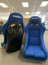 PAIR 2 SEATS - BRIDE VIOS Blue Cloth Fiberglass Seats Low Max JDM Rare OPEN BOX