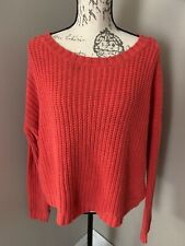 Express Red Chunky Knit Cropped Sweater Large