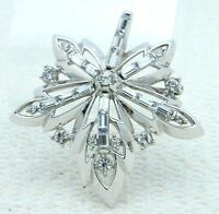 VTG RARE 50's CROWN TRIFARI Patent Pending Clear Rhinestone Flower Pin Brooch