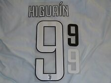 HIGUAIN 9 Juventus Home Iron On Name & Number Set For Football Shirt / Jersey