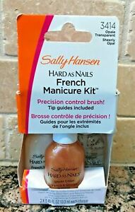 SALLY HANSEN Hard as Nails FRENCH MANICURE KIT Guides, White Tip, Top Coat OPAL