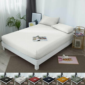 25 CM Stripe Elastic Fitted Bed Sheet Bottom Sheet Double Size Mattress Covers