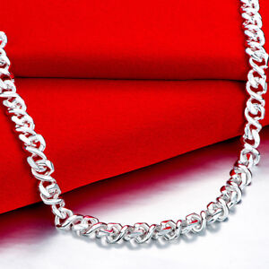 Classic 925 Hallmark Sterling Silver Filled Solid Twist Curb Link Necklace N549