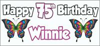 2 Personalised Butterfly 75th Birthday Banners Decorations Mum Nan Ladies