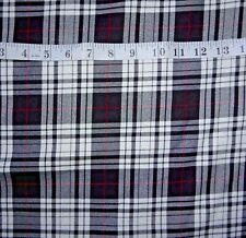Black, White & Red Wool Tartan Plaid Check Dress Fabric Tweed by the Metre