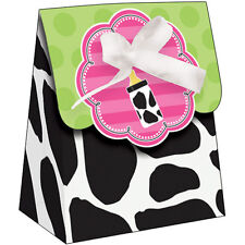 BABY SHOWER Cow Print Girl FAVOR BOXES (12) ~ Party Supplies Treat Loot Goody