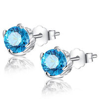 1.0 Cttw Round Created Blue Topaz Sterling Silver Stud Earrings Gifts for Girl