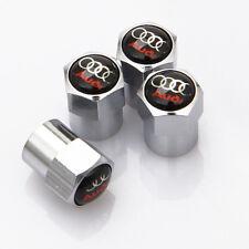 4 x Silver Chrome Tyre Valve Dust Caps (Fits AUDI) - BLACK
