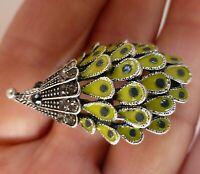 Hedgehog animal brooch green enamel crystal porcupine cute vintage style pin