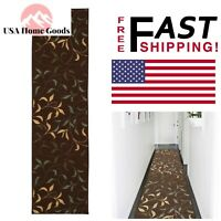 Chocolate Contemporary Leaves 2 ft x 7 ft Runner Rug 100% Nylon Rubber Backing