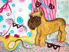 Brussels Griffon Masquerade Ladybug Dog Pop Folk Vintage Art 8 x 10 Signed Print