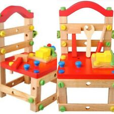 Wooden Toy Chair Building Block Tool Construction Dismantle Bench Workstation