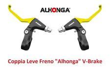 """820AM Coppia Leve Freno """"Alhonga"""" V-Brake Gialle per bici 26-28 Fixed Scatto Fis"""