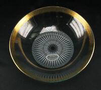 Art Deco Glas Schale mit Goldrand und weißem Schablonen Dekor klassisch elegant