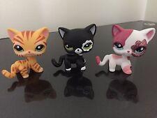 3×Littlest Pet Shop LPS Figure Toys #2249 #2291 #1451 Black Pink Tiger Kitty Cat