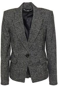 Veronica Beard Melvin Dickey Jacket Women's Wool Blend Blazer Black Plaid Size 4