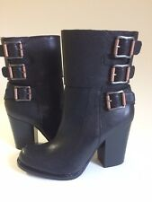 New CALVIN KLEIN JEANS Dezzi Leather Buckled Boots US Size 8.5 M/EU 38.5