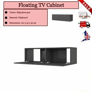 High Gloss Grey Floating TV Stereo Media Cabinet Wall Mounted Unit Cupboard Door