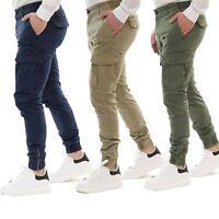 Pantalone Uomo Cargo Tasconi Slim Fit Verde Militare Blu Beige Tasche Laterali