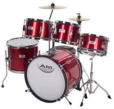 AM Percussion AMKD516 Kids Junior 5 Piece Complete RED Drum Set + Cymbals