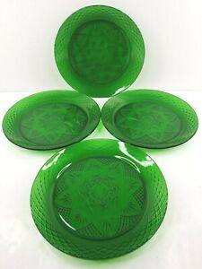"Cristal D'Arques Durand Antique Emerald Dinner Plates Set 10 1/4"" Glass France"