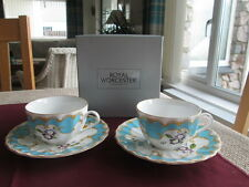 ROYAL WORCESTER PRIMULA SET OF 2 TEA CUPS & SAUCERS BOXED