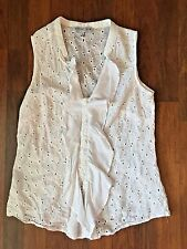 AUGUST SILK OPTIONS WOMEN'S WHITE LACE SLEEVELESS BLOUSE! Size MEDIUM! NICE!