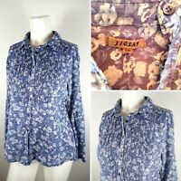 Jigsaw Ladies Blue Floral Paisley Pleated Cotton Blouse Casual Top Size 10