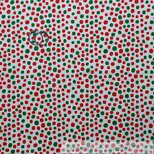 BonEful FABRIC Cotton Quilt White Red Green Small Polka Dot Xmas Snow Girl SCRAP