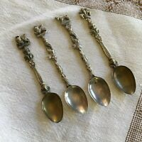 Vintage Souvenir Collector Tea Spoons Ornate Made In Italy Set of 4
