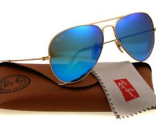 New Ray-Ban AVIATOR Gold/Blue Flash Mirror Lens RB 3025 112/17 58mm