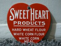 VINTAGE SWEET HEART PRODUCTS PORCELAIN SIGN GAS MOTOR OIL METAL STATION AD RARE