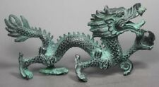 Collection Chinese Folk Old Bronze Handwork Dragon Statue