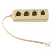 RJ11 6P4C to 6P4C 4 Way Telephone Line Modular Splitter Adapter Beige DT