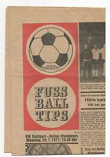 Original programm   26.07.1977   VfB STUTTGART - BOLTON WANDERERS  !!  VERY RARE